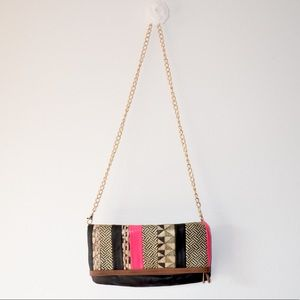 ••tribal fold over leather chain bag••